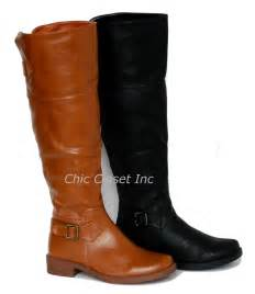 womens flat leather boots australia knee high equestrian fux leather boots flat black shoes ebay