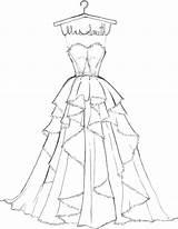 Coloring Pages Barbie Dresses Printable Getdrawings Getcolorings Gown sketch template