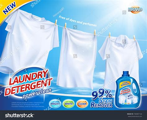 Laundry Detergent Ads Bright White Clothes Stock Vector