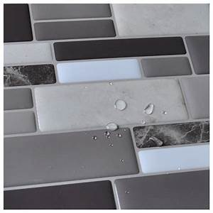 Peel n stick tile backsplash bathroom wall tiles 6 sheet for Stick on tiles for bathroom
