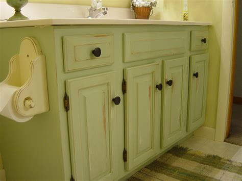 Distressed Bathroom Cabinets by Repainted And Distressed Bathroom Vanity My Style Home