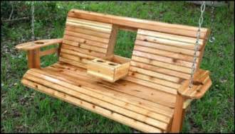 How To Make A Wooden Garden Bench by Build A Wood Porch Swing With Cup Holders Diy Projects