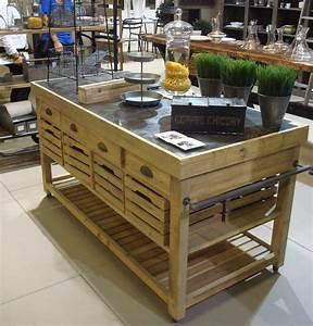 Meuble Ilot Cuisine : meuble de cuisine en bois massif ilot central combloux tek import www ~ Teatrodelosmanantiales.com Idées de Décoration