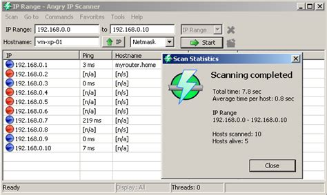 Scan lan for ip addresses