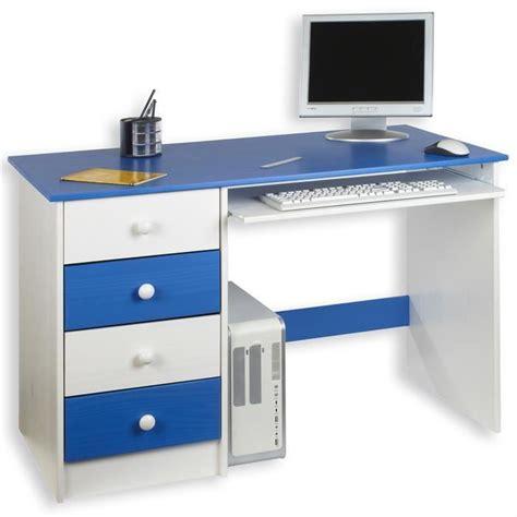 bureau garcon bureau enfant 4 tiroirs lasuré blanc bleu achat vente