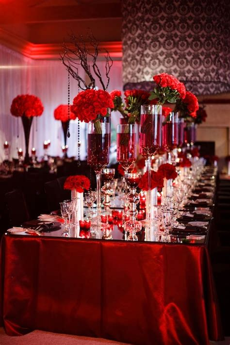 extensive white decorating table for red white and black wedding table decorating ideas