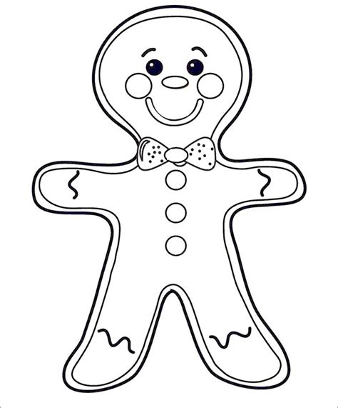 gingerbread man templates colouring pages