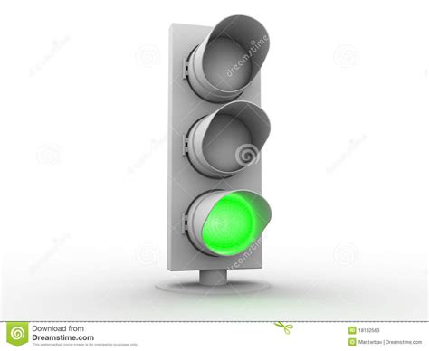 3d White Traffic Light With A Green Light Stock Photos