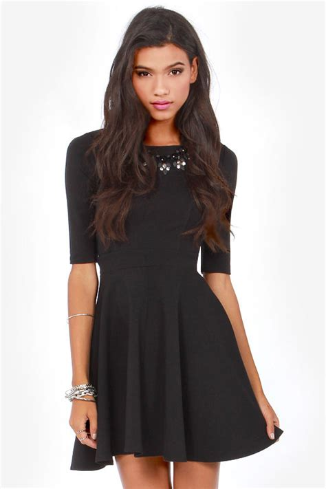 cute black dress skater dress dress  sleeves