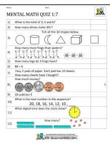 Mental Math Worksheet First Grade