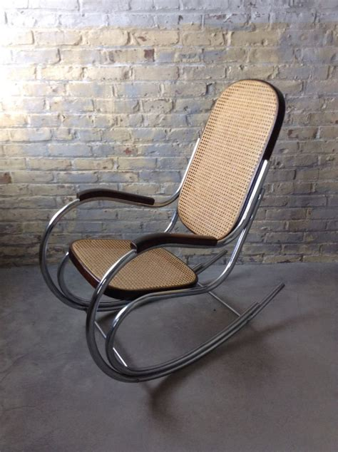 mid century rocking mid century chrome tubular bentwood rocking chair mid