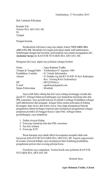 surat lamaran kerja notaris ben contoh lamaran