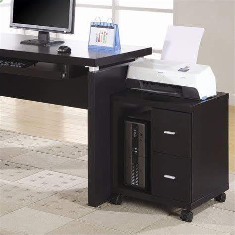 desk with printer cabinet flow mobile wood computer printer stand in cappuccino i 7004