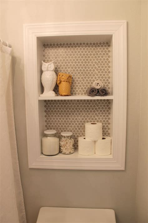 diy built  shelves  small bathroom storage cut