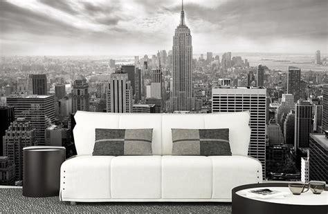 trompe l oeil mural grand format nyc nb un poster noir et blanc de new york par scenolia