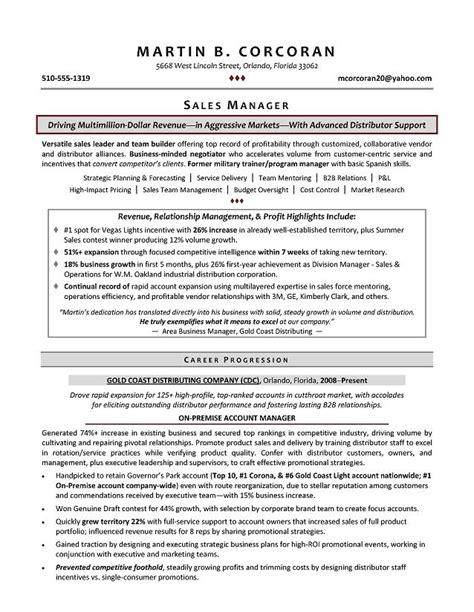sales manager resume career progression recentresumes