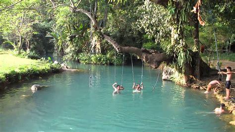 Blue Lagoon Vang Vieng Laos Youtube
