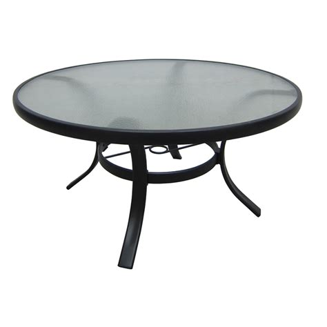 round metal outdoor table shop garden treasures lake notterly 36 in glass top steel