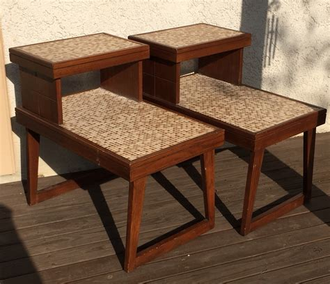 vintage mid century modern pair of wood and mosaic