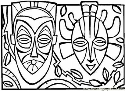 African Coloring Pages Mask Printable Africa Clipart