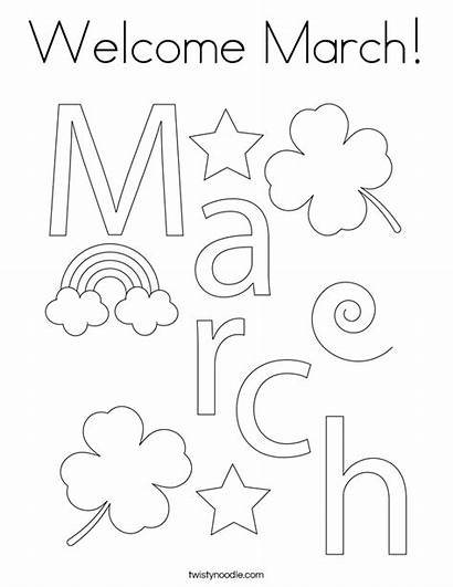 Coloring March Month Welcome Noodle Usa Twisty
