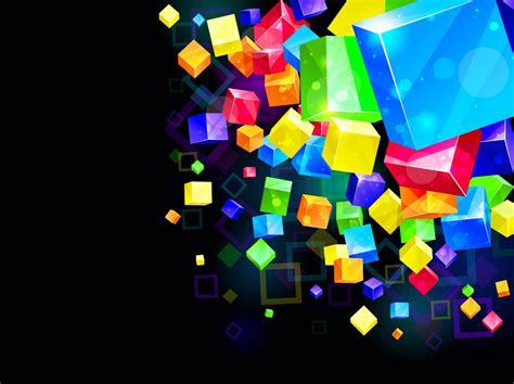 Abstract Wallpaper Cube by Colorful Cubes Background Vector Graphics