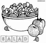 Salad Coloring Fruit Printable Vegetables Template Sketch Colorings Fruits Templates sketch template