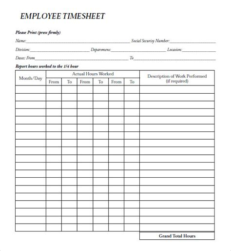 hourly employee timesheet template 8 sle payroll timesheets sle templates