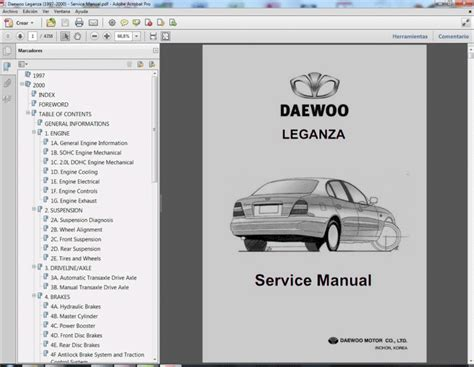 car service manuals pdf 2000 daewoo leganza parking system daewoo leganza 1997 2000 service manual