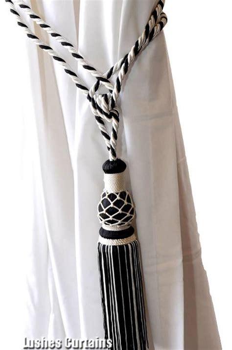 drapery cord tassel 1 black white window drape hardware curtain drapery