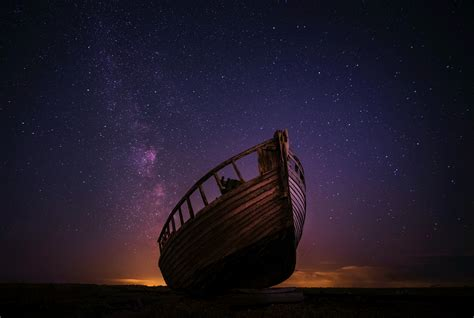 Night Boat Sky Stars 5k, Hd Nature, 4k Wallpapers, Images, Backgrounds, Photos And Pictures