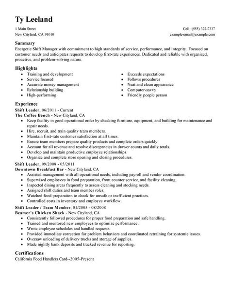 Shift Manager Resume by Best Hourly Shift Manager Resume Exle Livecareer