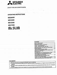 Mitsubishi Mr Slim Ms17nn Operating Instructions Manual