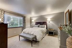 belle chambre a coucher avec le mur gris d39accent photo With belle chambre a coucher