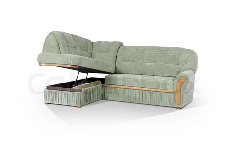 Eckige Sofa Mit Boxen Für Die Wäsche Auf Einem Weißen
