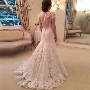 short sleeves lace trumpet wedding dress illusion back With queen anne wedding dress