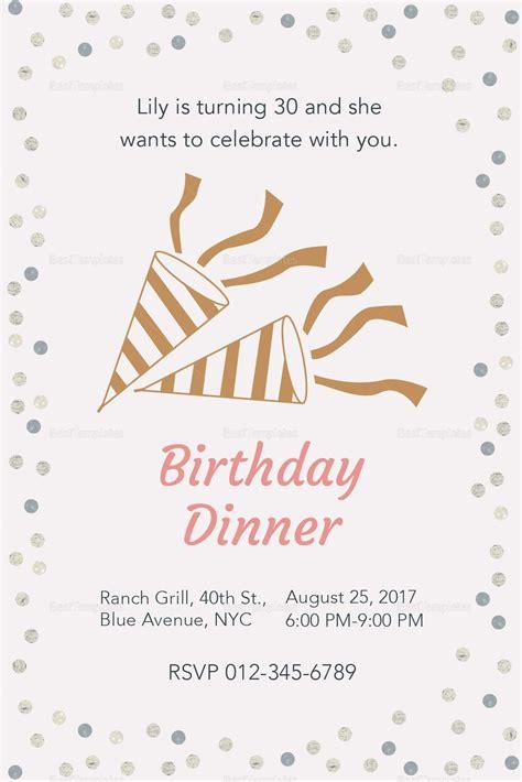 28 Birthday Dinner Invitation Template in 2020