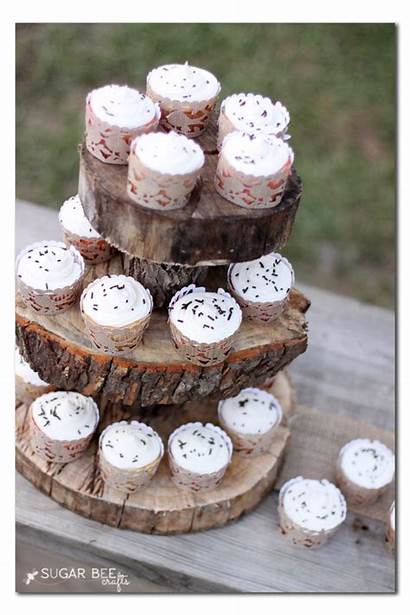Rustic Cupcake Wrappers Woodland Cupcakes Stand Party
