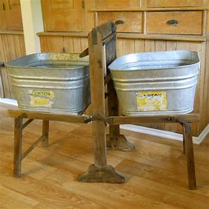 Vintage, Galvanized, Wash, Tubs, With, Wood, Wash, Stand