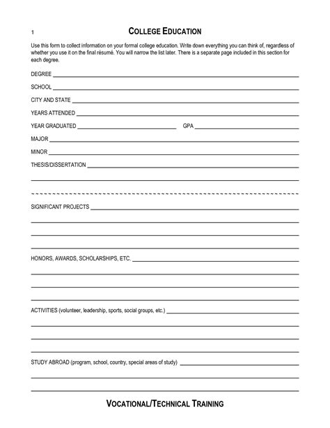 Blank Resume Templates Free Print Out