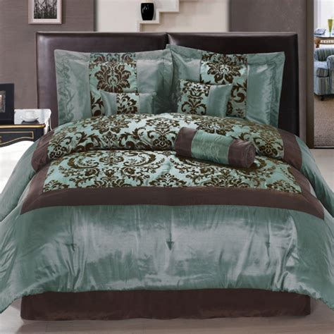 7pcs satin auqa blue brown flocking floral comforter bed