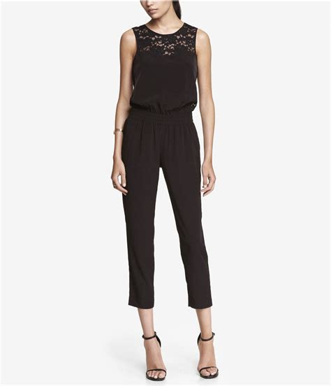 express jumpsuits express pieced lace jumpsuit in black pitch black