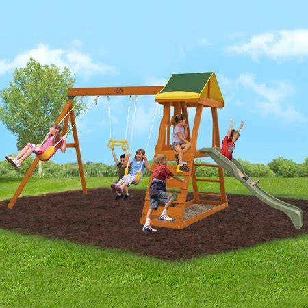 Walmart Backyard Playsets by Big Backyard Wooden Swing Set Box 1 Of 2