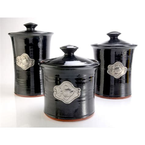 black kitchen canisters sets fish 3 stoneware canister set in 4 colors