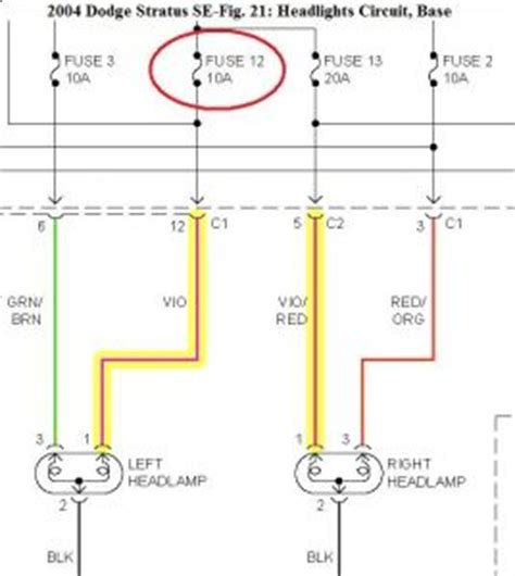 Dodge Neon Headlight Wiring Diagram by 2004 Dodge Stratus Headlight Wiring Diagram Periodic