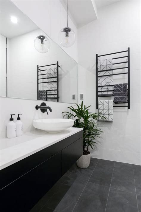Modern Bathroom Ideas Black And White by Hotel Powder Room Design Black And White Houzz Landscaping