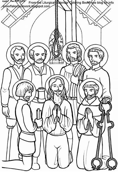 Coloring Saints Pages English Martyrs Catholic Azcoloring