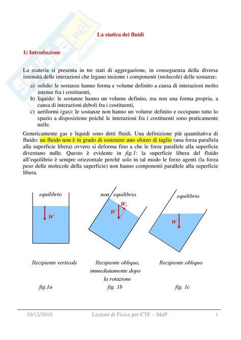 dispense di fisica generale statica dei fluidi appunti di fisica generale