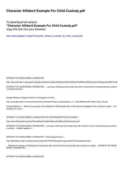 affidavit  character examples  examples