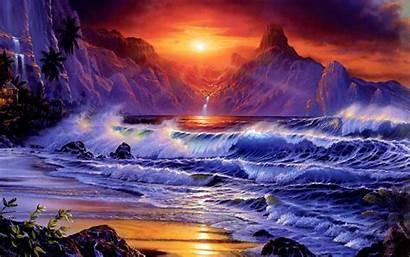 Sunset Dark Mountains Sea Rocky Sky Waves